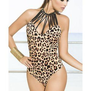 Leopard One Piece Swimsuit Small